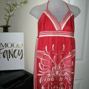 Red and White Batik Print Dress